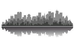 Silhouette moderne de ville Photographie stock