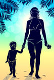 Silhouette mom and baby walking along beach with palm trees at s Royalty Free Stock Images
