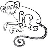 Silhouette of the monkey.Black silhouette on a white background. Royalty Free Stock Images
