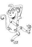 Silhouette of the monkey.Black silhouette on a white background. Royalty Free Stock Image