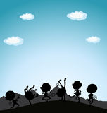 Silhouette monkeys playing on hill Royalty Free Stock Photo