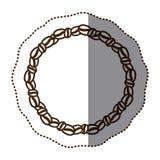 silhouette monochrome стикер с круглой цепью кофейных зерен иллюстрация штока