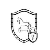 Silhouette monochrome avec le bouclier avec le Trojan Horse et le cadenas Photo stock