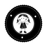 Silhouette monochrome avec le dessin de fille dans le cadre rond Image stock