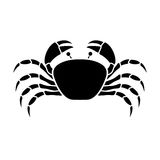 Silhouette monochrome with crab above Stock Photos