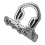 Silhouette monochrome d'autocollant avec des écouteurs et des notes musicales illustration de vecteur