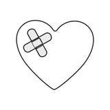 silhouette monochrome de coeur avec le bandage adhésif Photos libres de droits