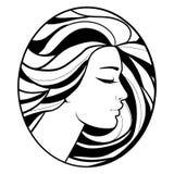 Silhouette monochrome de profil de dessin Images libres de droits
