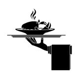 Silhouette monochrome dish with hot crab in tray Stock Image