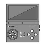 Silhouette monochrome game cube remote control with screen and buttons Royalty Free Stock Image