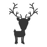Silhouette monochrome with reindeer walk to the right side Royalty Free Stock Images