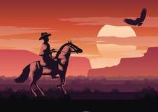 Silhouette and monochrome scenery cowboy in Savannah field go ba vector illustration
