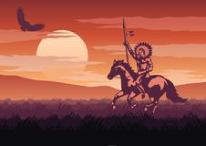 Silhouette and monochrome scenery Red Indian go to hunt in Savan Royalty Free Stock Photos