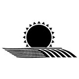 Silhouette monochrome seeding with horizon sun Royalty Free Stock Photography