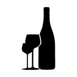 Silhouette monochrome with wine bottle and wine glasses Royalty Free Stock Images