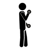 Silhouette monocrome man lifting a dumbbell Royalty Free Stock Photos