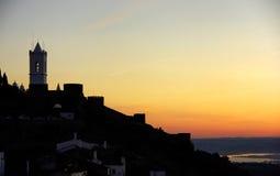 Silhouette of Monsaraz village Royalty Free Stock Image