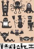 Silhouette Monsters. Set of 9 cartoon monsters Stock Photos