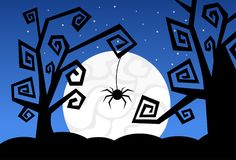 Silhouette Monsters In Moonlight Scary Shadows Happy Halloween Banner Trick Or Treat Concept Holiday. Flat Vector Illustration Stock Photos