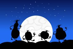 Silhouette Monsters In Moonlight Scary Shadows Happy Halloween Banner Trick Or Treat Concept Holiday. Flat Vector Illustration Royalty Free Stock Photography