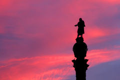 Silhouette of the Monument of Columbus Royalty Free Stock Image
