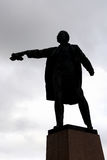 Silhouette of Monument to Lenin on Moscow Square. Stock Photo