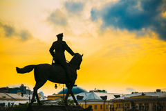 Silhouette of monument to Marshal Georgy Zhukov on. Red square in Moscow, Russia stock images