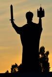 Silhouette of monument to Nicholas the Wonderworker. Kaliningrad Royalty Free Stock Photo