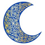 Silhouette of a Moon in a tattoo style. Blue and gold colors in white background. Creative colourful crescent moon. Silhouette of a Moon in a tattoo style. Blue Stock Images