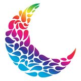 Silhouette of a Moon in a tattoo style. Rainbow gradient colors in white background. Creative colourful crescent moon. Silhouette of a Moon in a tattoo style Royalty Free Stock Images