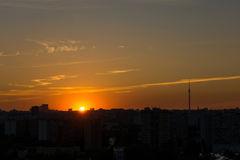 Silhouette of Moscow at sunset Royalty Free Stock Photo