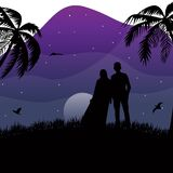 Silhouette moslem couple standing on nature landscape meadow coconut tree background moon light star flying bird at