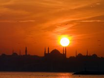 Silhouette of mosque. And a group of sea birds flying in the red sky royalty free stock photo