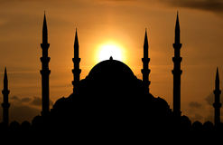 Silhouette of mosque Royalty Free Stock Photos