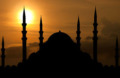 Silhouette of mosque Stock Images