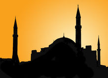 Silhouette of a mosque against evening sky Royalty Free Stock Images