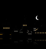 Silhouette of Mosque Against Night Sky with Crescent Moon Stock Photos