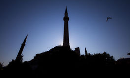 Silhouette of mosque. In istanbul turkey Royalty Free Stock Photos