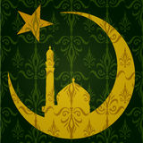 Silhouette of Mosque or Masjid on moon with stars on abstract green background, concept for Muslim community holy month Ramadan. Kareem or Ramazan Kareem. EPS Vector Illustration