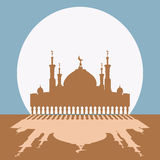 Silhouette of mosque with minarets. Concept for Islamic Muslim holiday for celebration Mawlid birthday of prophet Muhammad, holy month of Ramadan Kareem, Eid Royalty Free Stock Image