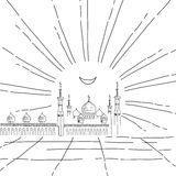 Silhouette of mosque with minarets Stock Images