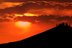 Silhouette of mosque on mountain Stock Photos