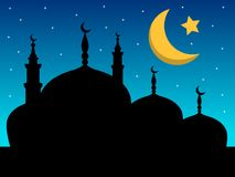 Silhouette of mosque night. Silhouette of mosque at night Stock Images
