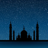Silhouette of a mosque. Starry Sky. Eps 10. Stock Image