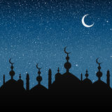 Silhouette of a mosque. Starry Sky. Eps 10. Royalty Free Stock Photography