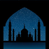 Silhouette of a mosque. Starry Sky. Eps 10. Stock Photos