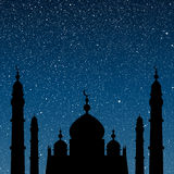 Silhouette of a mosque. Starry Sky. Eps 10. Royalty Free Stock Photo
