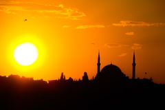 Silhouette of mosque at sunset in Istanbul Stock Photography