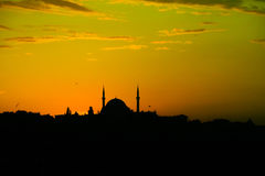 Silhouette of mosque at sunset in Istanbul Royalty Free Stock Photography