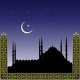 Silhouette of mosques. And minaretts with ornament Stock Photo